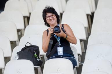 Cris Dissat, do blog Fim de Jogo - canal hoje possui credencial de imprensa no Maracanã - foto cedida por Cristina Dissat