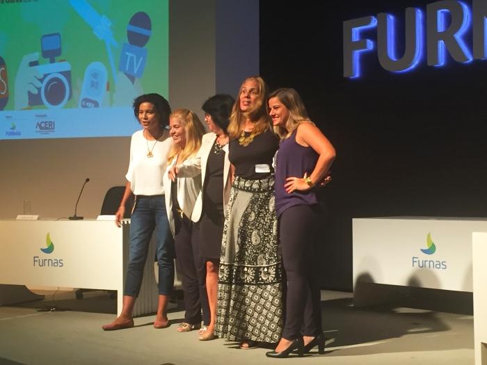 Debora Gares (ESPN), Renata Graciano (Donas da Bola), Cristina Dissat (Fim de Jogo), Martha Esteves (O Dia) e Camila Carelli (Rádio Globo) deba