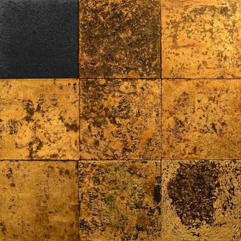 ² Carvão, Folhas de Ouro, materiais orgânicos, esmalte sintético e Verniz sobre tela 150 x 150 cm (Foto: Joaquim Nabuco - Divulgação)