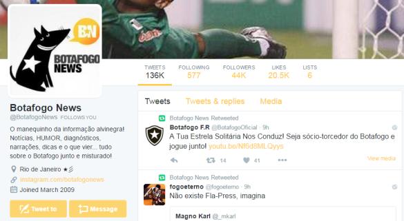 Hoje, o BotafogoNews sobrevive apenas via Twitter_