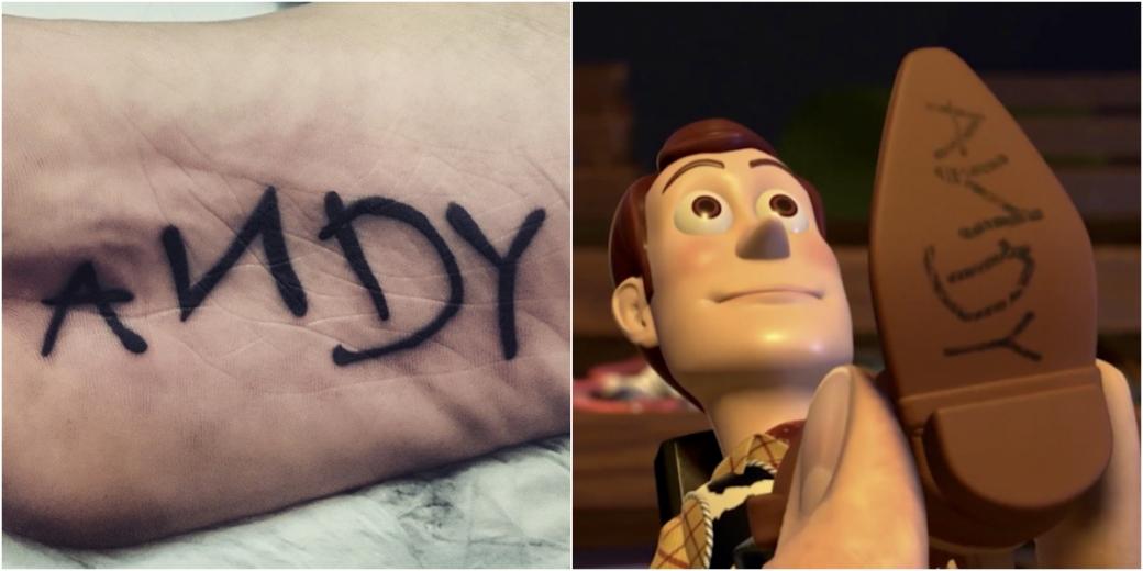 Tatuagem na sola do pé de Luiz, em homenagem ao personagem Woody, do filme Toy Story, que tem o nome do dono na sola da bota.Foto: Arquivo pessoal