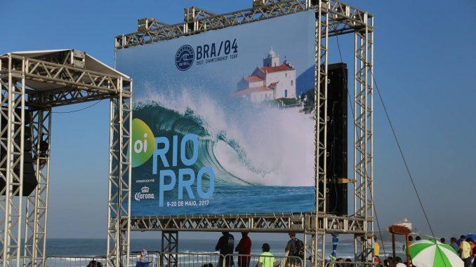 Estrutura do Campeonato Mundial de Surf de 2017 em Saquarema. Foto: Divulgação / Prefeitura de Saquarema