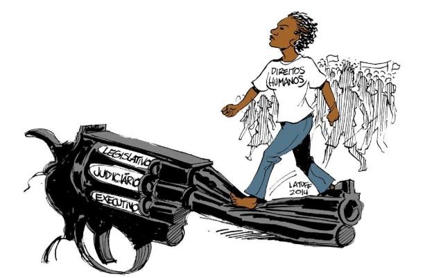Charge de 2014 do artista Latuff sobre a atuação dos direitos humanos nos poderes legislativos e na população.