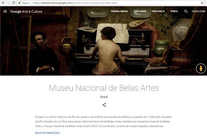 A página oficial do museu contendo o link do google art project (Print)
