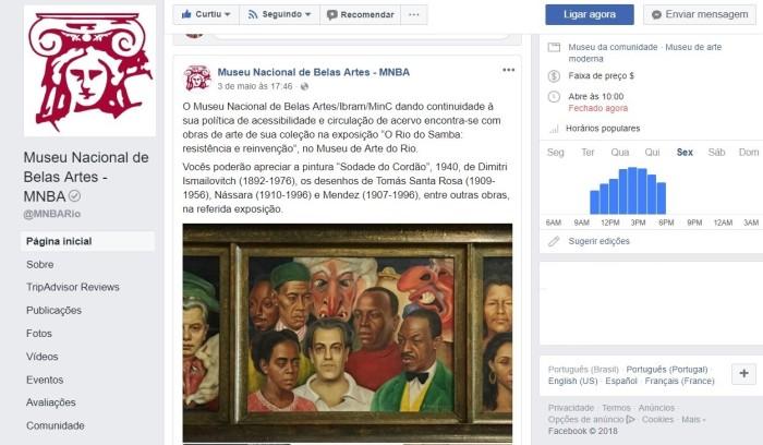 Facebook oficial do MNBA (print)