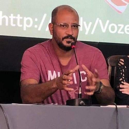 Hedjan C.S , em 2019, no evento da Semana do Livro Nacional. Foto: Arquivo pessoal.